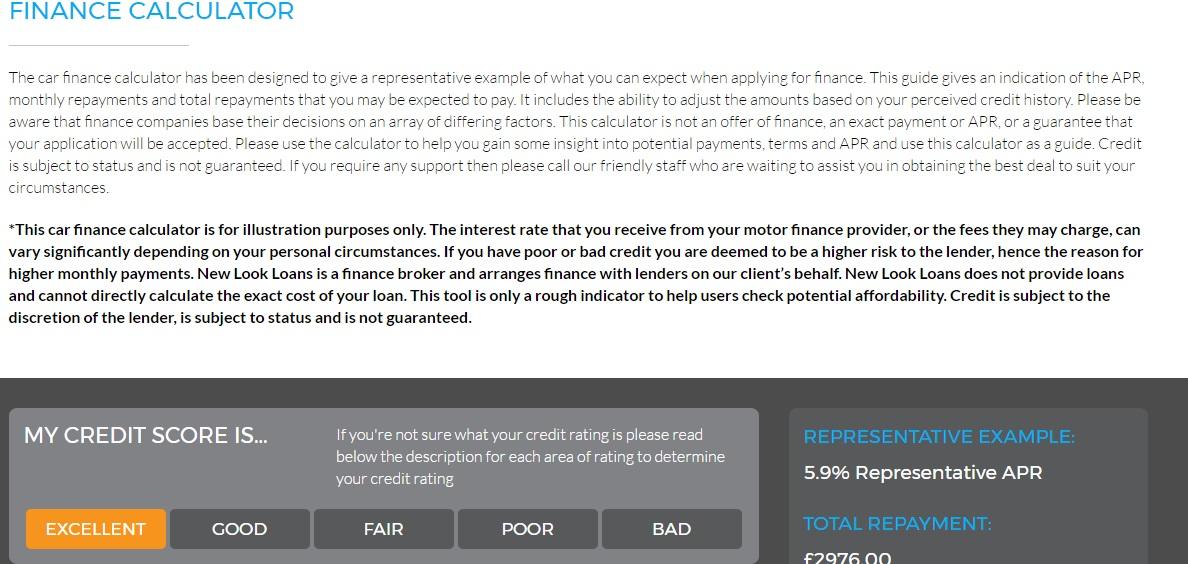 New Look Loans Car Finance Calculator