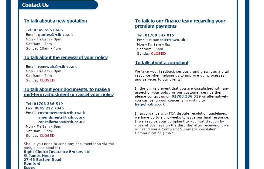 Right Choice Insurance Brokers UK Telephone Numbers
