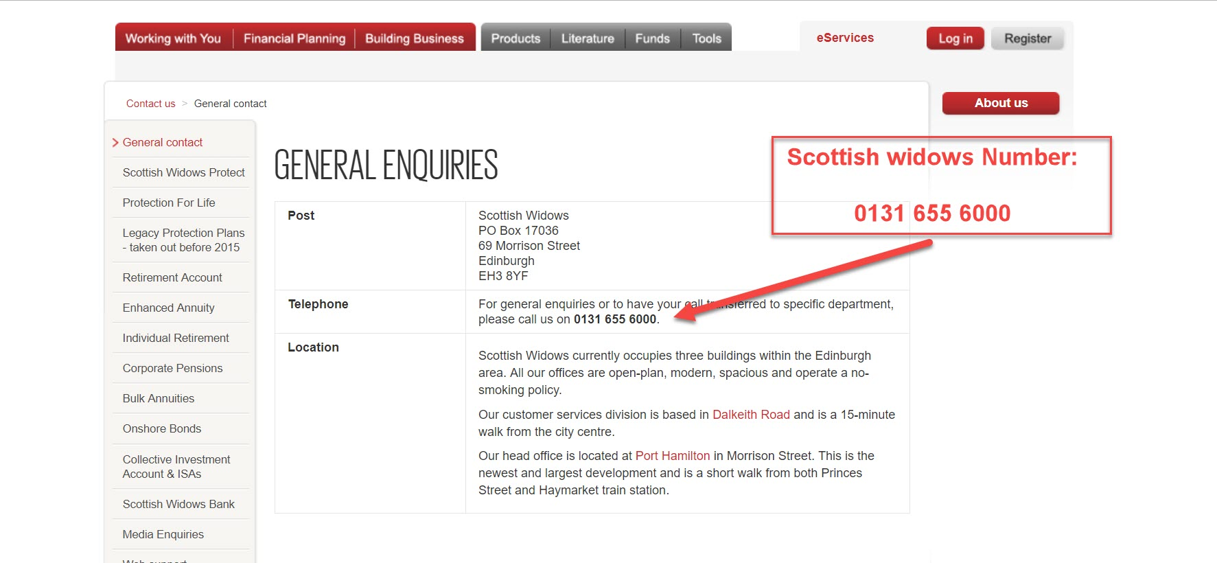 scottish widows contact number