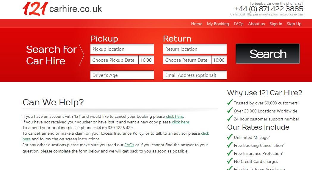 121 Car Hire Bookings Numbers