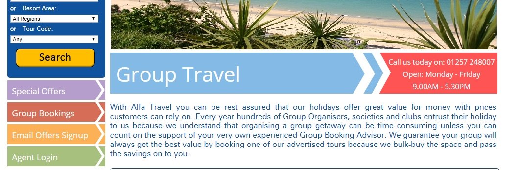 Alfa Travel Group Booking
