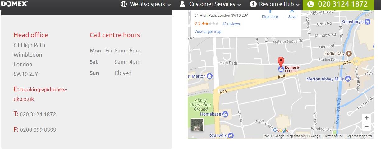 Domex UK customer service