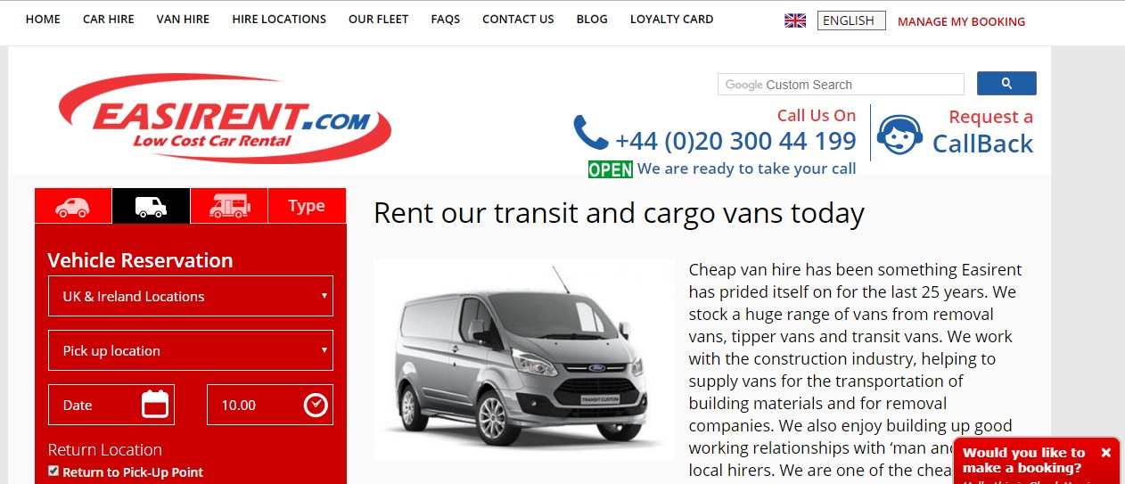 Easirent Van Hire Number