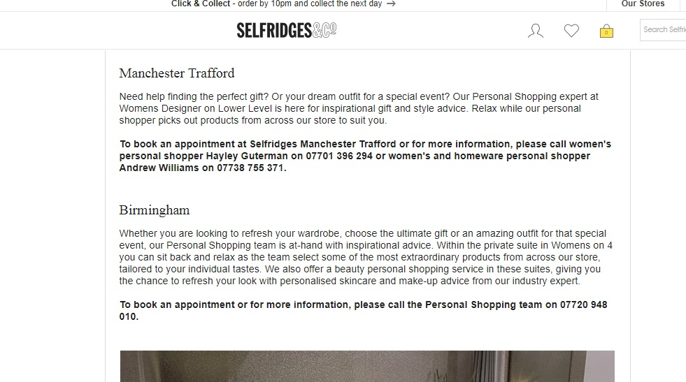 Selfridges Personal Shopper Number