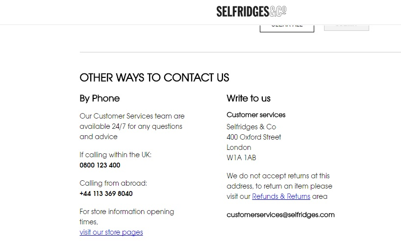Selfridges contact numbers