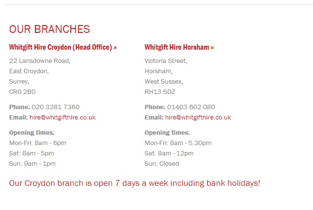 Whitgift Hire Croydon branches