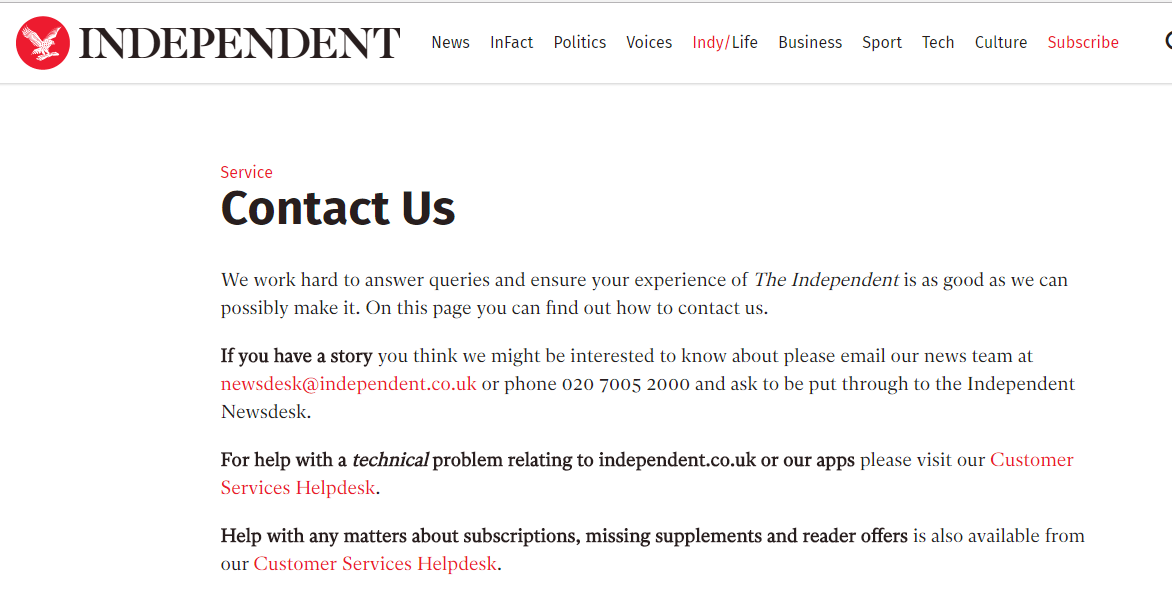 The Independent Contact Us