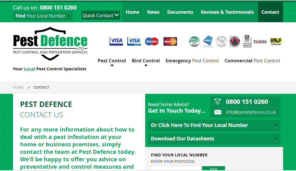 Pest Defence contact number