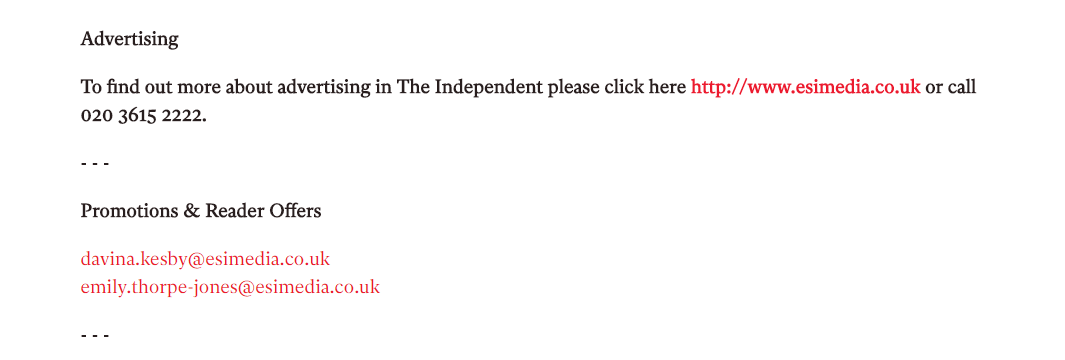 The Independent Advertising Contact Numbers