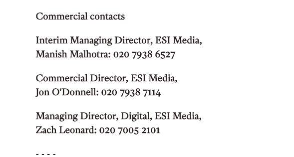 The Independent Commercial Contacts