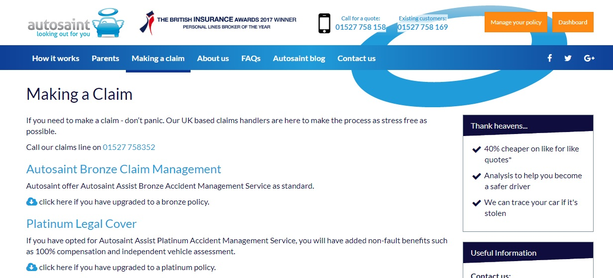 Autosaint Insurance claims number