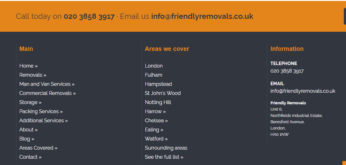 Friendly Removals Man and Van number and email