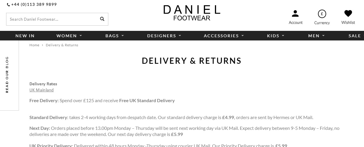 Daniel Footwear Returns Information
