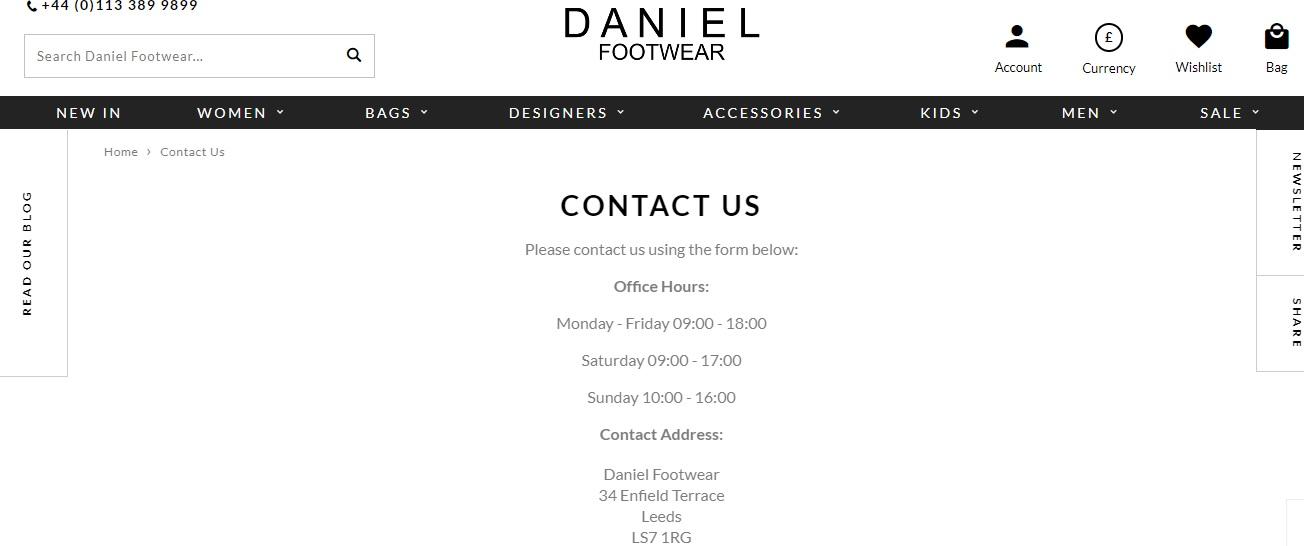 Daniel Footwear Contact Number