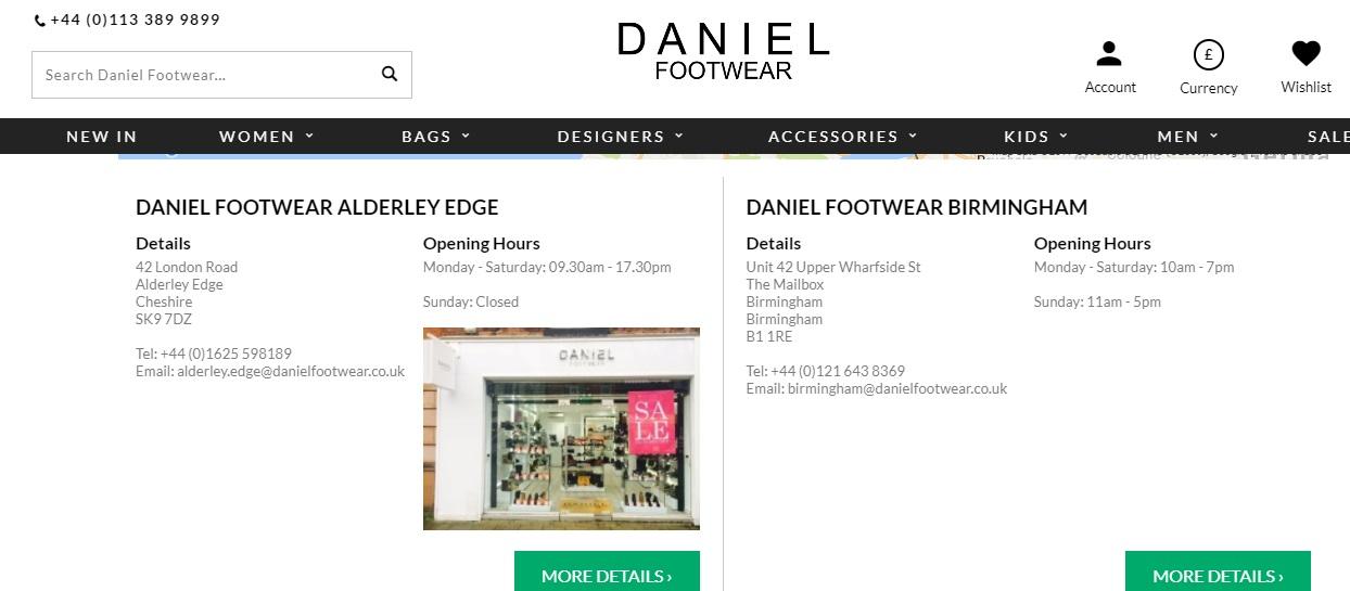 Daniel Footwear Stores Number