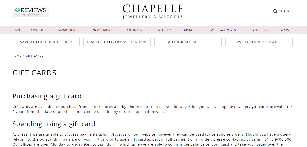 Chapelle Jewellery Gift Card