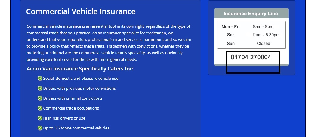 Acorn Commercial Insurance Phone Number and Email
