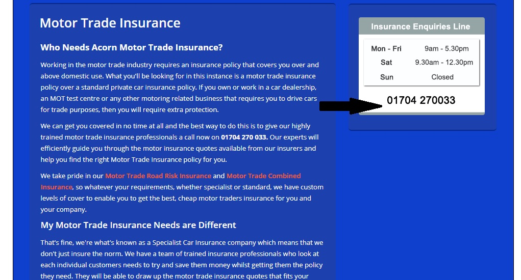 Acorn Motor Trade Insurance Number