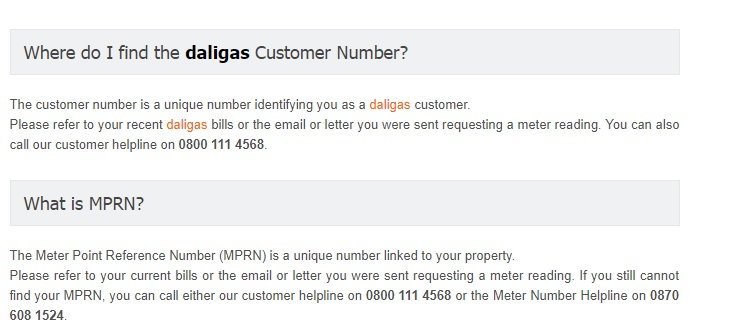 Daligas Meter Read Number