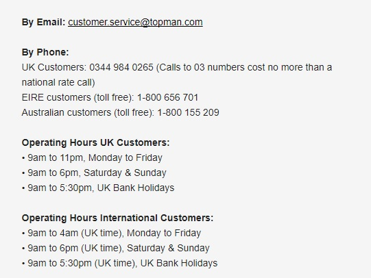 Topman customer service numbers