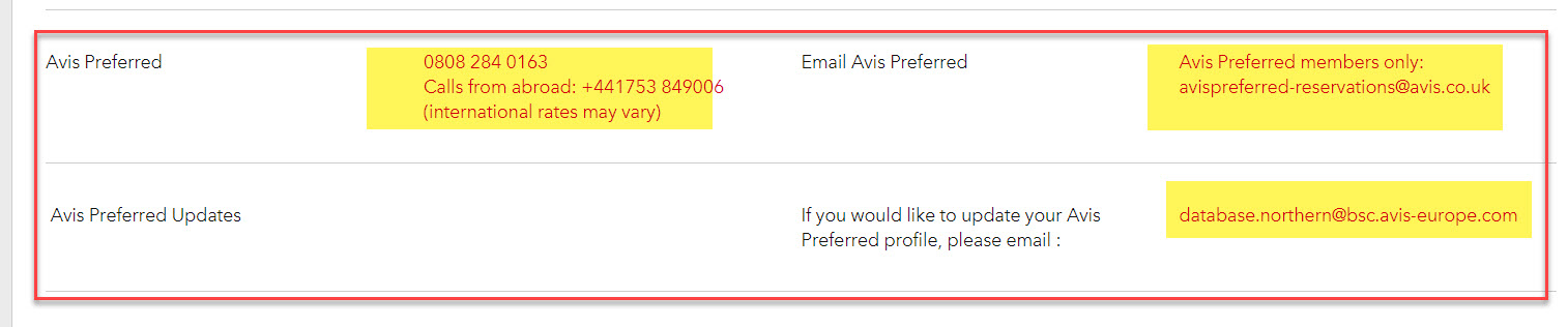 Avis Preferred service