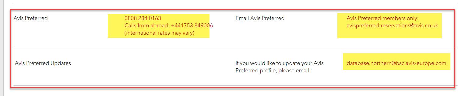 Avis Preferred service
