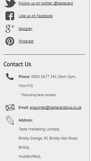 Tastecard customer service contact number