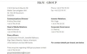 H&M UK Press Office Contact