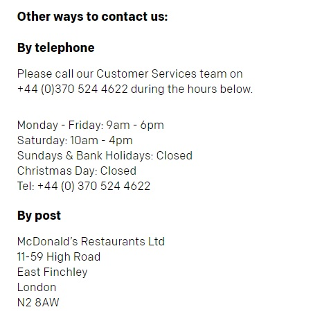 mcdonald's customer service