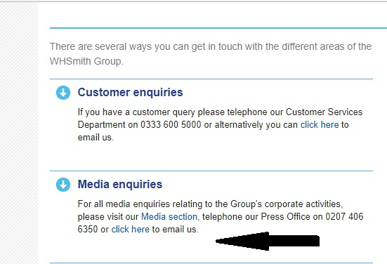 WHSmith Press Office Contact