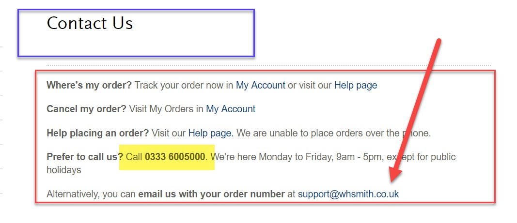 whsmith contact number