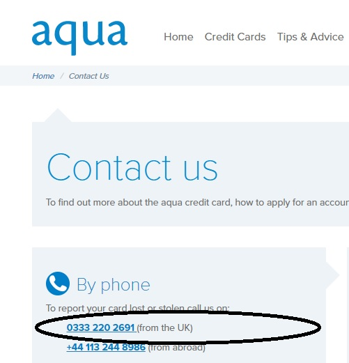 Aqua Card customer service