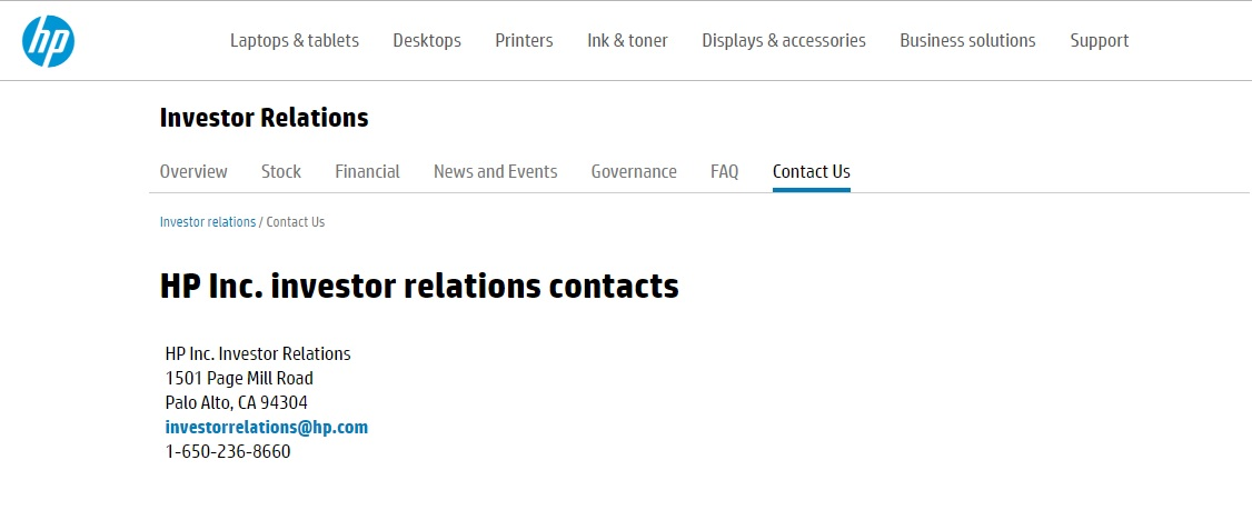 HP Investor Relations Contacts