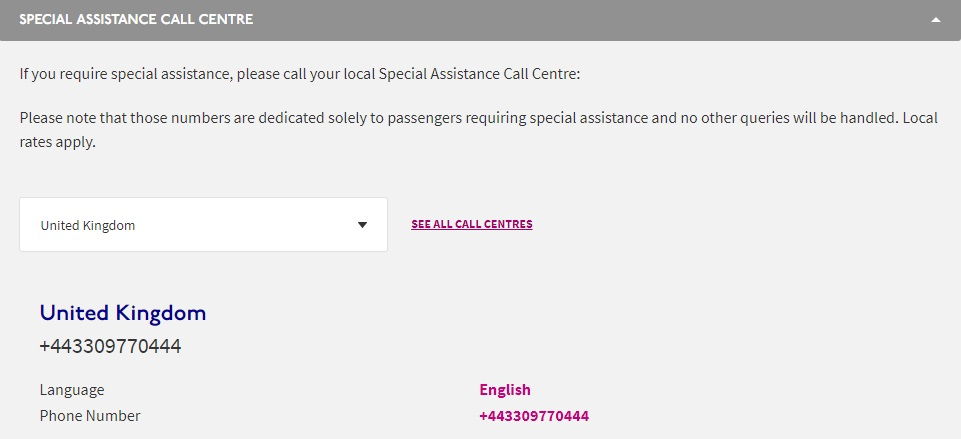 Wizz Air Special Assistance Phone Number