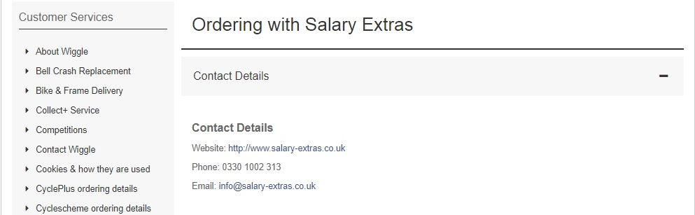 Wiggle salary extras order