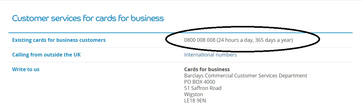 Barclaycard contact business