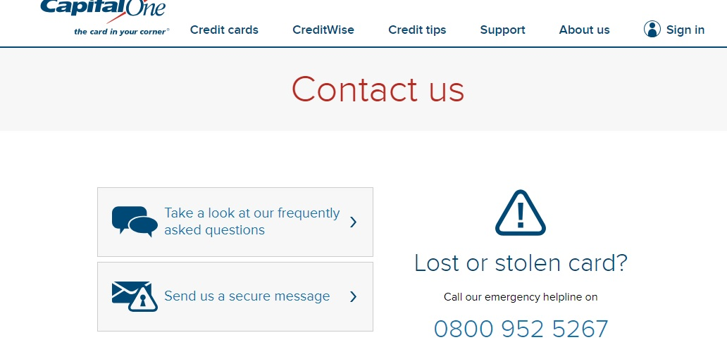 Capital One helpline UK