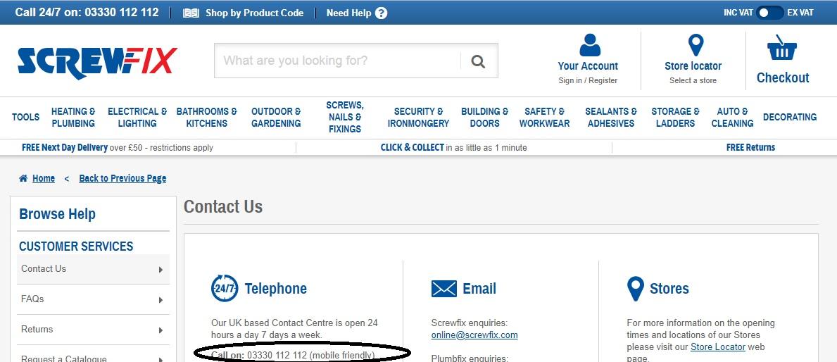 Screwfix customer service number