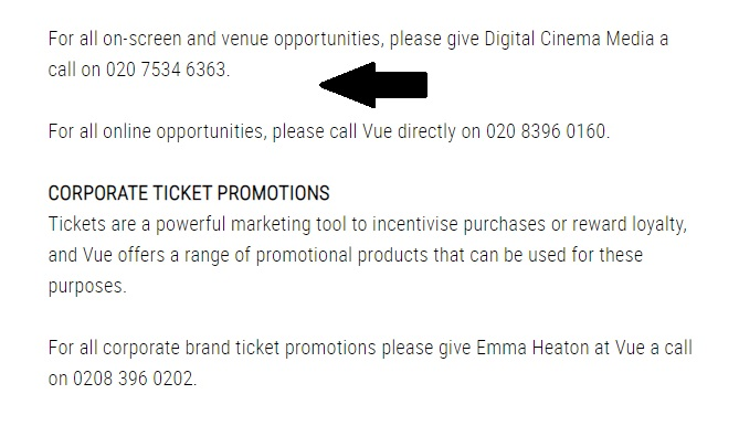 Vue Cinema Promotions
