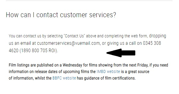 Vue Cinema customer service
