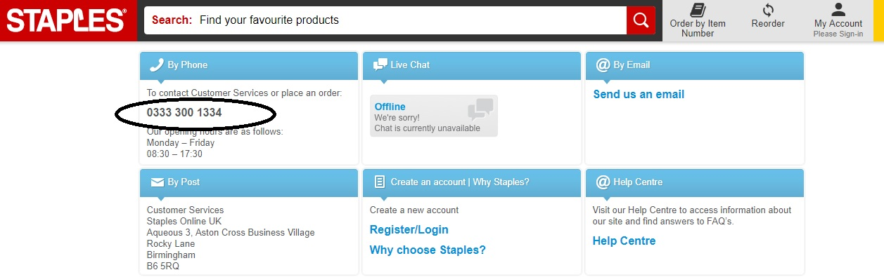 Staples customer support phone number