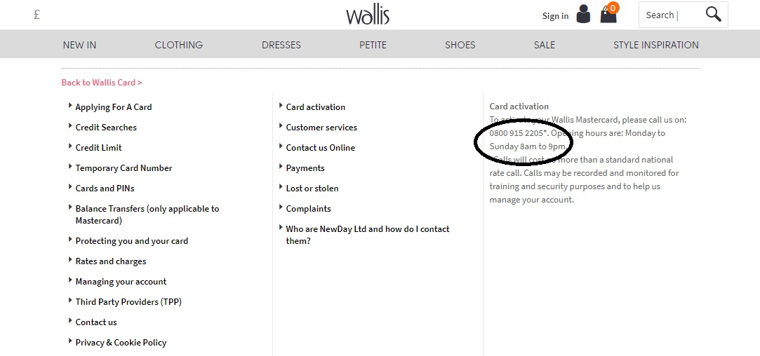 Wallis Account Card Activation