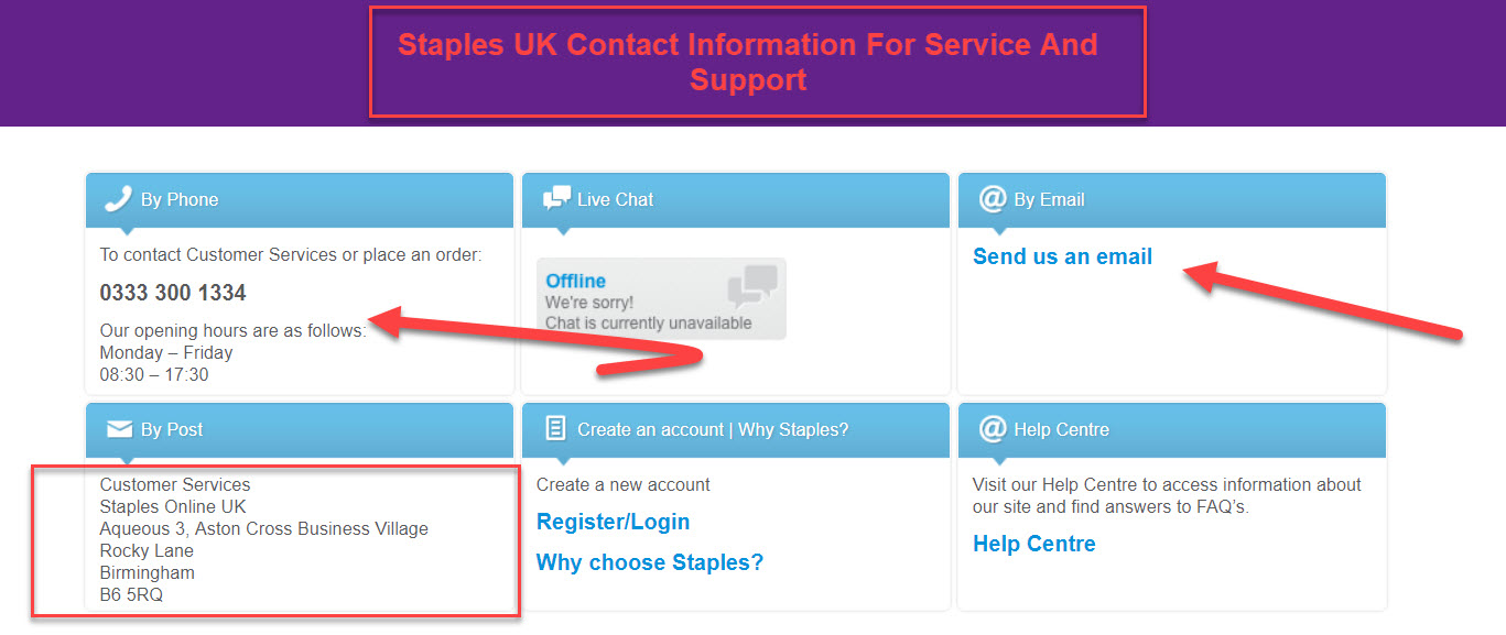 staples uk contact