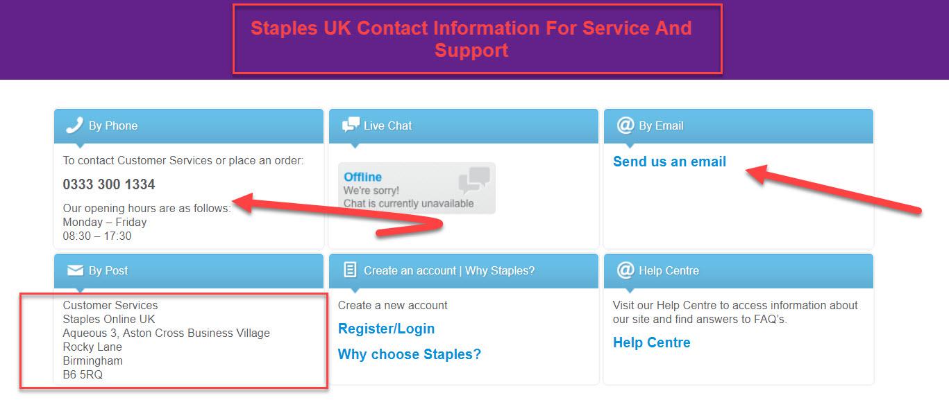 staples uk contact