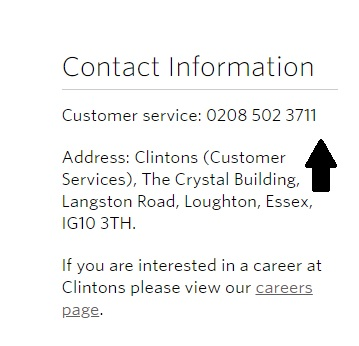 Clinton Cards customer service helpline