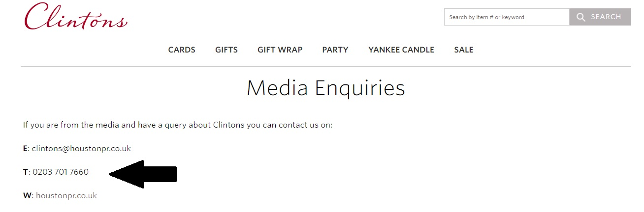 Clinton Cards Press Office Contact