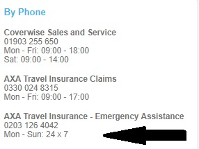 Coverwise Travel Insurance emergency contact