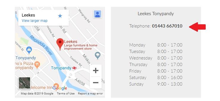 Leekes Tonypandy Contact