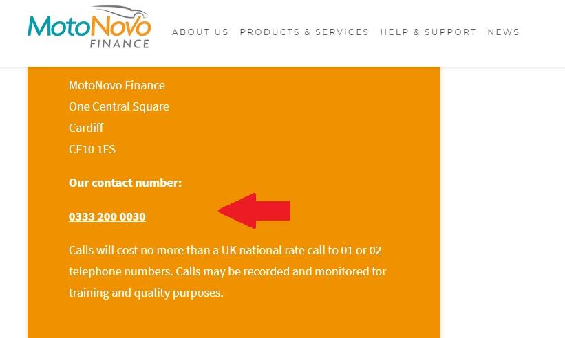 Motonovo Finance customer helpline