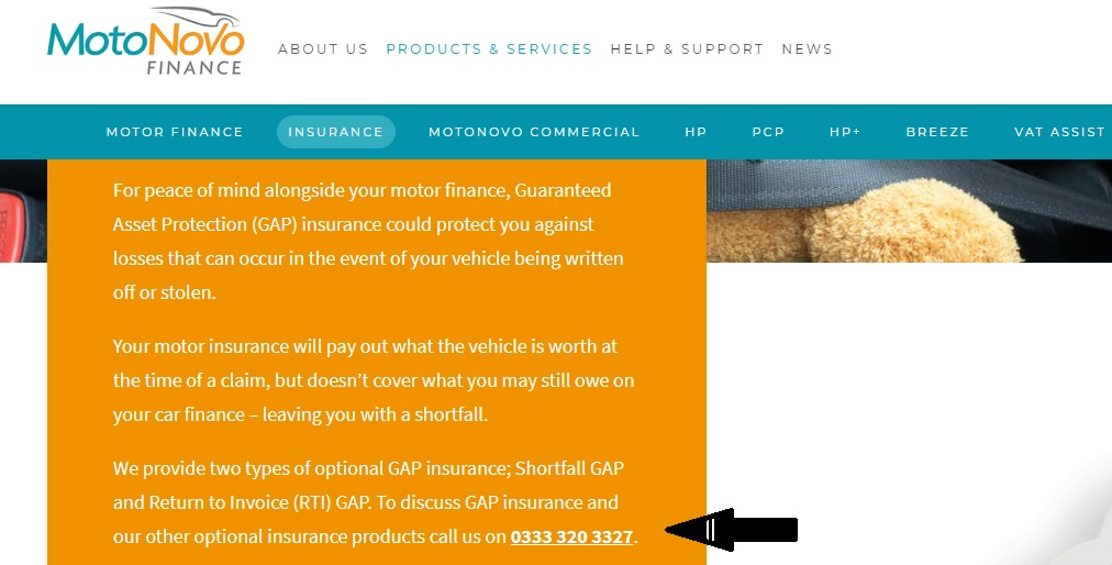 Motonovo Finance Gap Insurance Contact